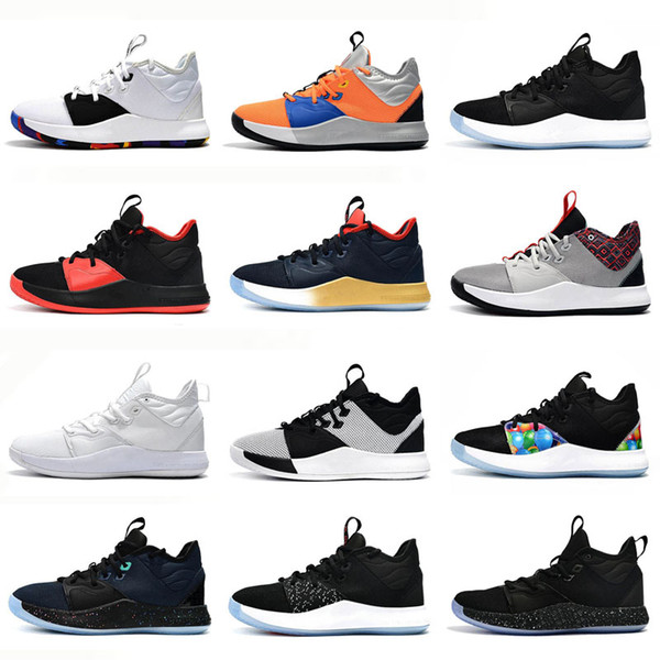 2019 New Paul George PG 3 Chaussures de basketball Hommes George Gold Championship MVP Finales Baskets d'entraînement Sport Chaussures de basketball Blanc Taille 7-12
