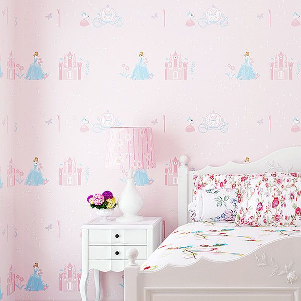 home decor Princess room children's room wall roll girl environmental protection non-woven wall paper pink bedroom wallpaper cartoon castle