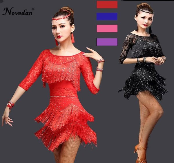 Robe Sexy Tango Rouge Salsa Latin Dance Dress Femmes dentelle Fringe Salle de bal Concours de danse Robes Pour