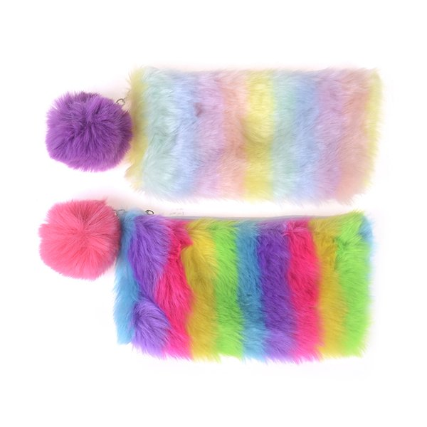 Women Girls School Supplies Cute Multi-Color Rainbow Pencil Case Makeup Storage Pompom Cosmetic Bag