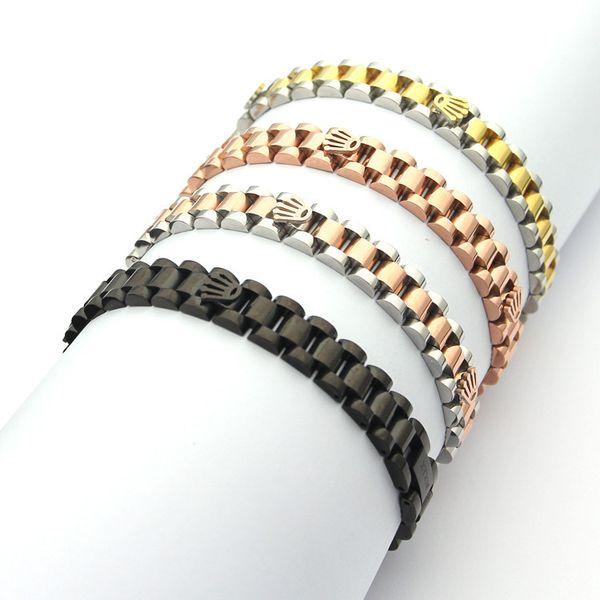 Cadena de plata de la manera de oro de acero inoxidable Corona Enlace pulsera brazalete de regalo Fit reloj de la joyería del partido de las mujeres de los hombres de regalos