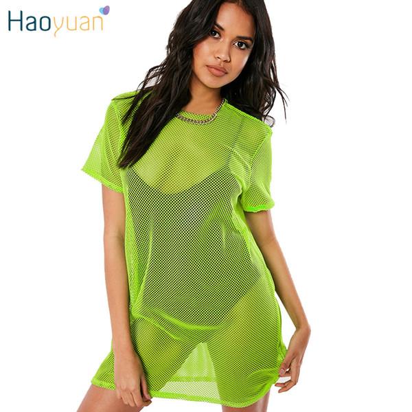 17fa431f012 HAOYUAN Fishnet Mesh Sheer T Shirt Dress Neon Green Pink Orange Beach Cover  Up Summer Clothes
