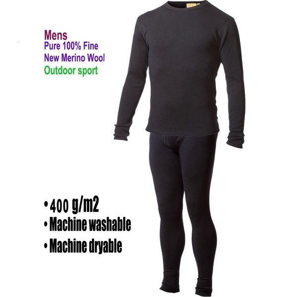 L'homme pur 100% laine mérinos d'hiver manches longues thermique chaud Sous-vêtements Pull épais cardigan hauts Pantalons Bas Set Expédition SH190927