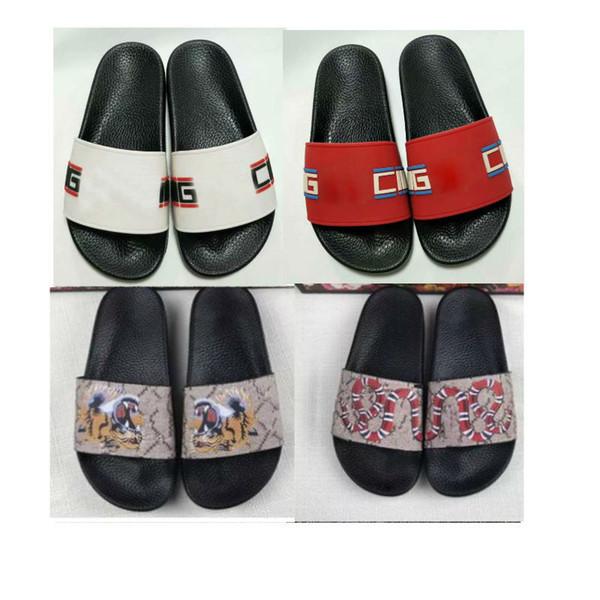 Büyük boy us5-13 Tasarımcı terlik siyah kauçuk Erkekler kadınlar Lüks sandalet tasarımcı baskı Yumuşak deri yılan çiçek kaplan erkekler terlik boyutu 38-45