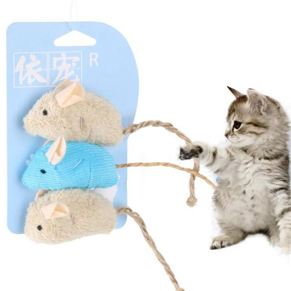 pet cat false mice shape toy plush toy furry kitten funny playing toys mice rattle mouse catnip interactive play 3pc