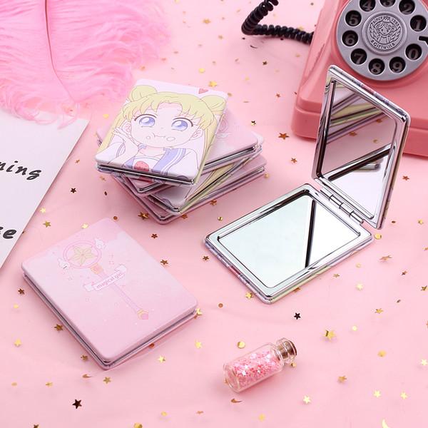 Specchietto retrovisore portatile Mini specchio da trucco in metallo in acciaio inossidabile Specchio tascabile cosmetico per specchietti da trucco Accessori di bellezza carini