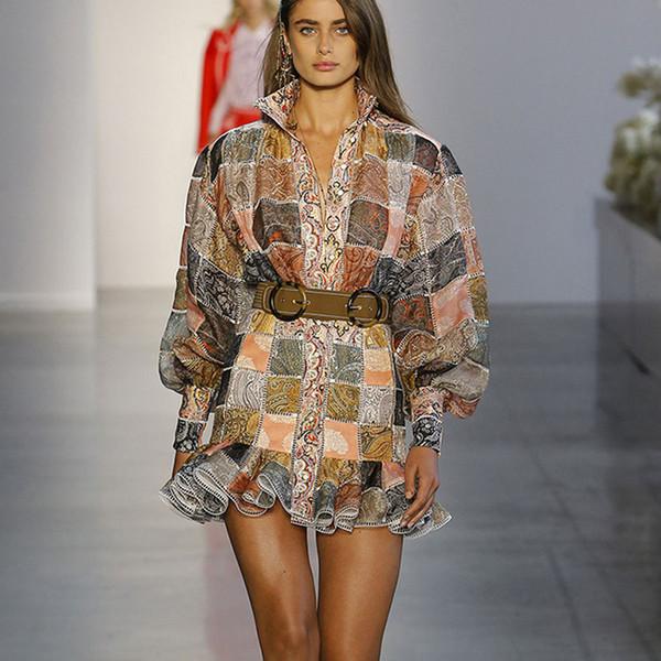2019 Brand New Women Print Elegant Vintage Dress Womens Lantern Sleeve Designer Runway Shirt Dress Vestidos