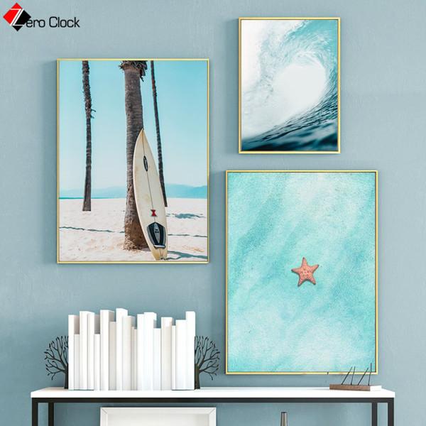 Blue Seascape Leinwand Malerei Teal Ocean Water Print Surf Poster Strand Küste Wandkunst Dekoration Bilder Sommer Wand Dekor