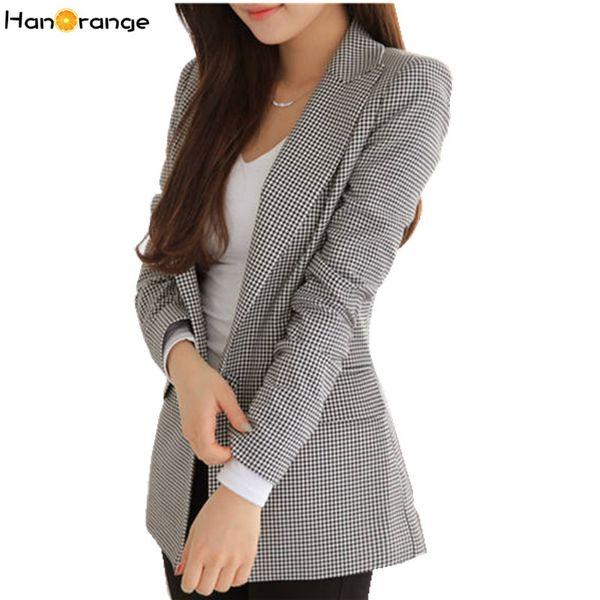 HanOrange 2019 Neue Frühling Herbst Slim Houndstooth Plaid Long Blazer für Frauen Jacke Schwarz Weiß Jacke XXXL Plus Größe Y190830