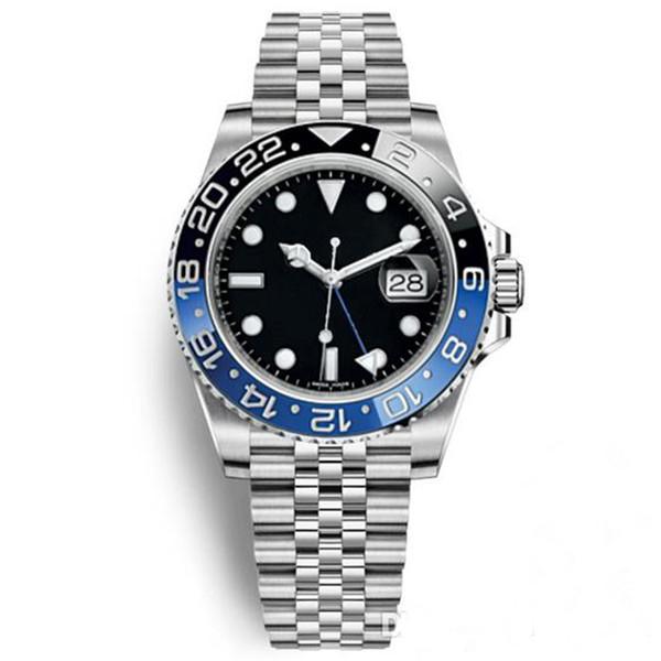 Venda quente Mens Relógio de Pulso Azul Preto Cerâmica Bezel Relógio De Aço Inoxidável 116710 GMT Automático Movimento Limitado Relógio Novo Jubileu Mestre