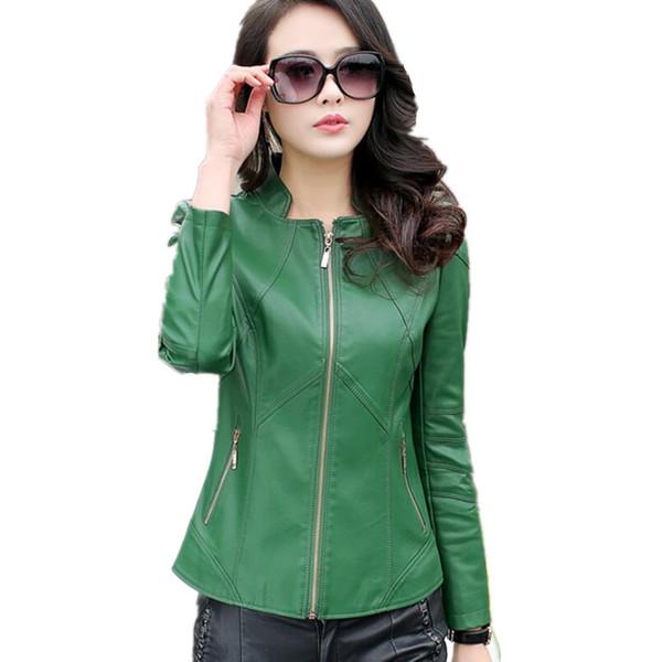 Ropa de primavera chaquetas y abrigos cortos de cuero para mujer chaqueta de cuero delgada para mujer talla grande S-4XL abrigo de moto verde