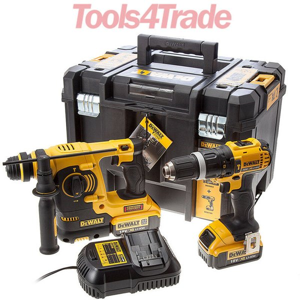 Dewalt dck206m2t 18v twin kit with 2 x 4 0ah batterie charger in t tak kitbox