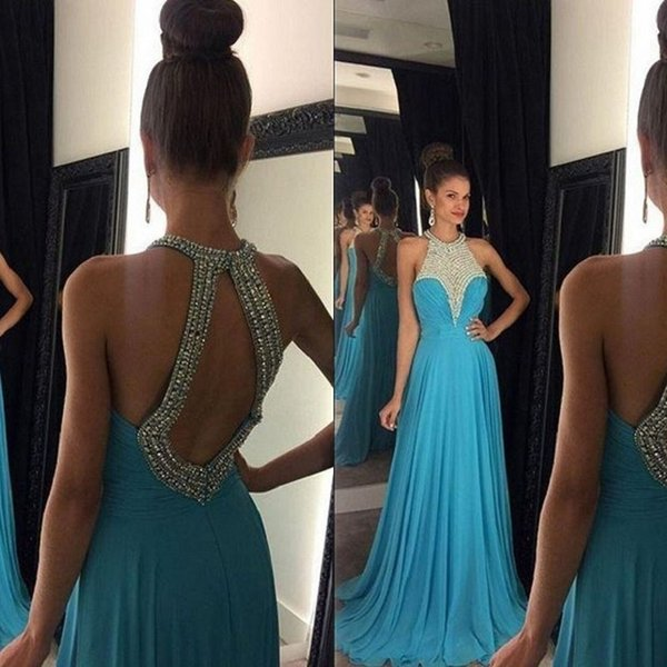 Halter Jewel Neck Evening Dresses Cut Out Open Back Beaded Crystals Top Ruched Chiffon Floor Length Prom Party Gowns High Quality