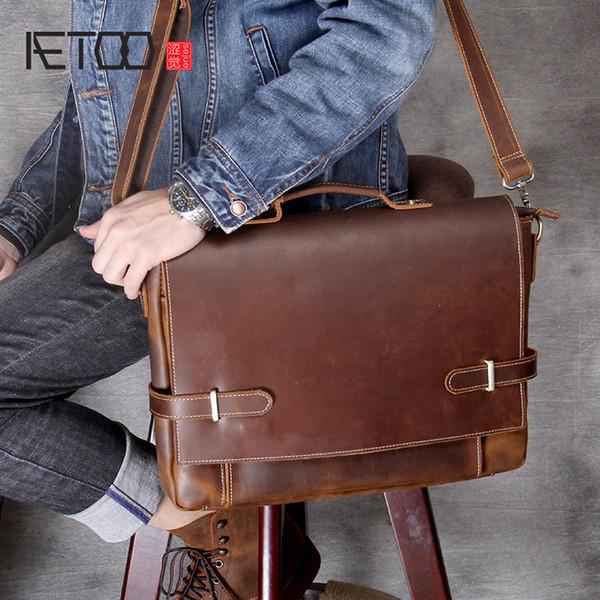 AETOO Retro head cowhide Laptop Briefcase Men's shoulder crossbody bag