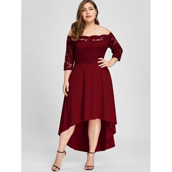 Burgundy High Low Plus Size Prom Dresses A Line Off The Shoulder Evening  Gown Chiffon Long Sleeves Formal Dress Plus Size Gowns Cheap Plus Sizes ...