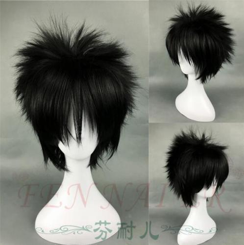 Naruto fashion anime cosplay heat resistant short black wig inclined bang man
