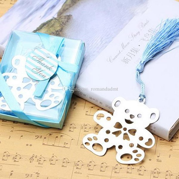 Bear Teddy Bookmark Metal Hollow-out With Tassel Baby Shower Christening Gift Party Wedding Favour ( Blue or Pink)+ DHL Free Shipping