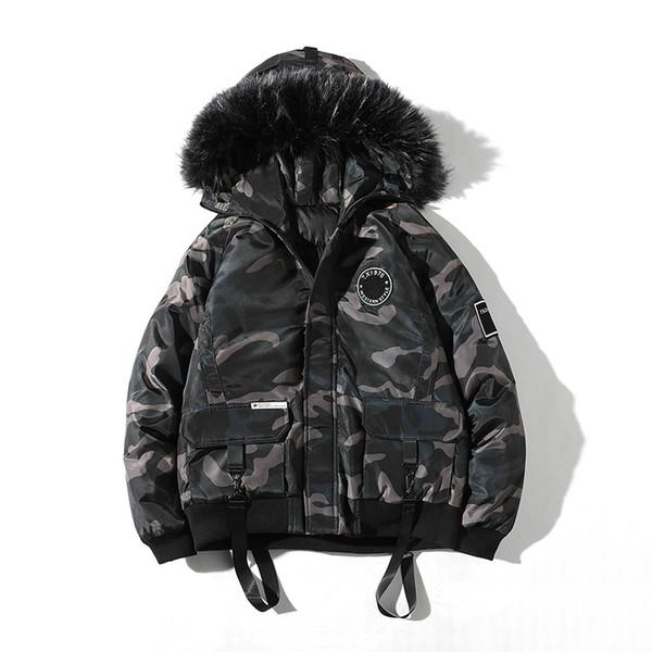 Manteau d'hiver Mens hiver Parkas col de fourrure épais chaud vestes à capuche camouflage veste Hip Hop Parka jeunesse mode Streetwear