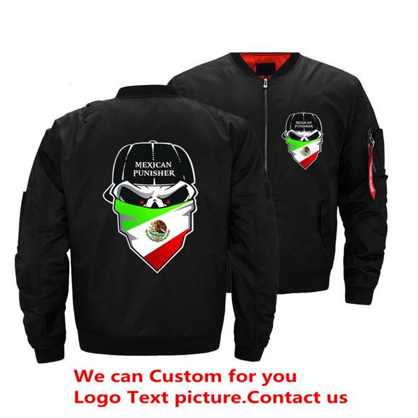 Bandeira do méxico Bomber Jacket Men Piloto Piloto Verde Jaqueta Bomber Men Wind Breaker EUA Tamanho