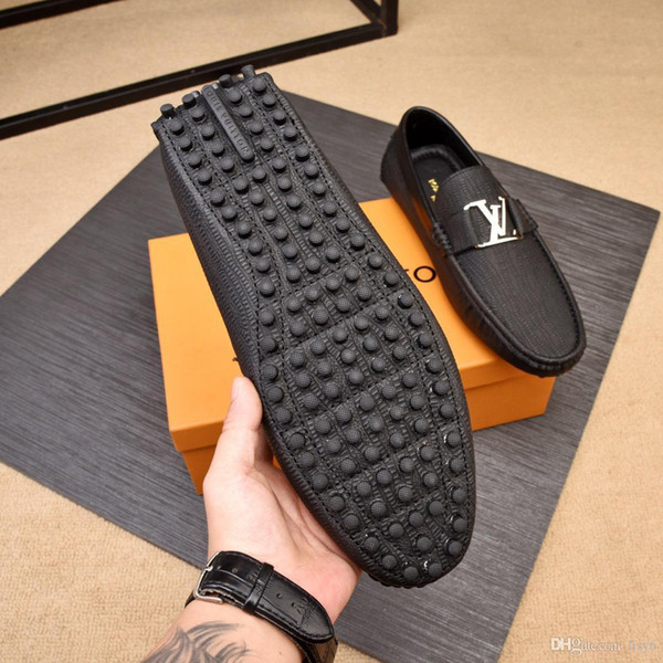 2019 Men's Shoes Brand Luxury Genuine Leather Casual Driving Oxfords Flats Shoes Mens Loafers Shoes for Men SIZE 38-44
