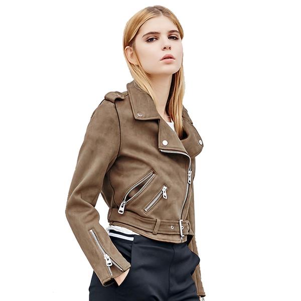 Fitaylor Autumn Women Faux Suede Jacket Slim PU Leather Jacket Motorcycle Leather Jackets White Biker Punk Outwear 19SS