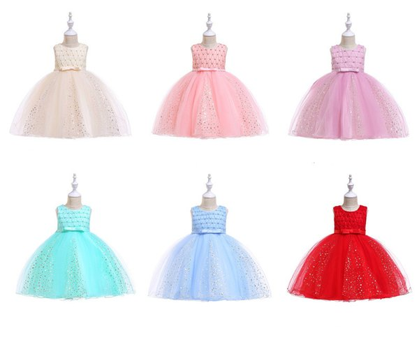 Girls Ball Gown Form Dresses TUTU Princess Formal Full Evening Dress With Gold-stamped Baby Kids Sleeveless Beaded Bow Tutu Dress