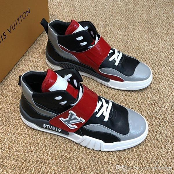 Versione alta, Nuova lista Mens alta cima Hook Loop casual Scarpe sportive, personalità selvaggia traspiranti scarpe casual scarpe Moda Uomo Sport 0073