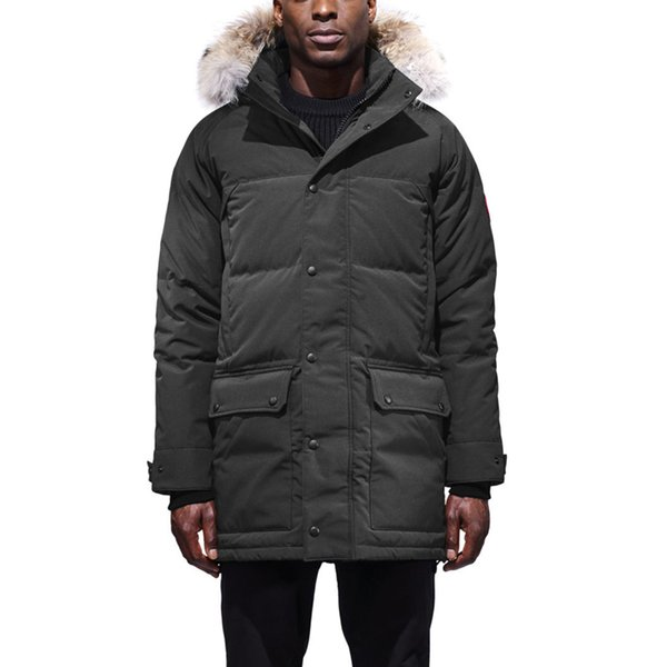 DHL Free Shipping Winter Goose Emory Parka Big Goose Down Jacket Men'S Long Section Black Outdoor Warm Wolf Hair Jacket