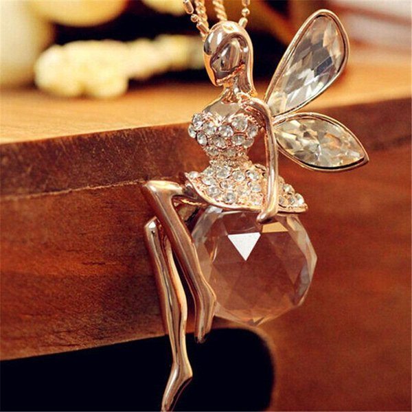 Fashion Women Crystal Shiny Fairy Rhinestones Angel Wings Party Pendant Necklace Sweater Chain Girls Gift
