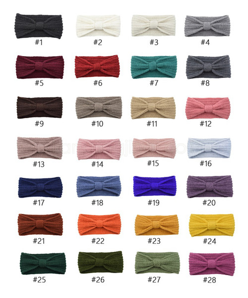28styles bowknot Outono-Inverno Hairbands Turbantes Mão Knit Bow Lady Ear Warmer Headwrap sólida Grande presente do partido Headband favor FFA2981
