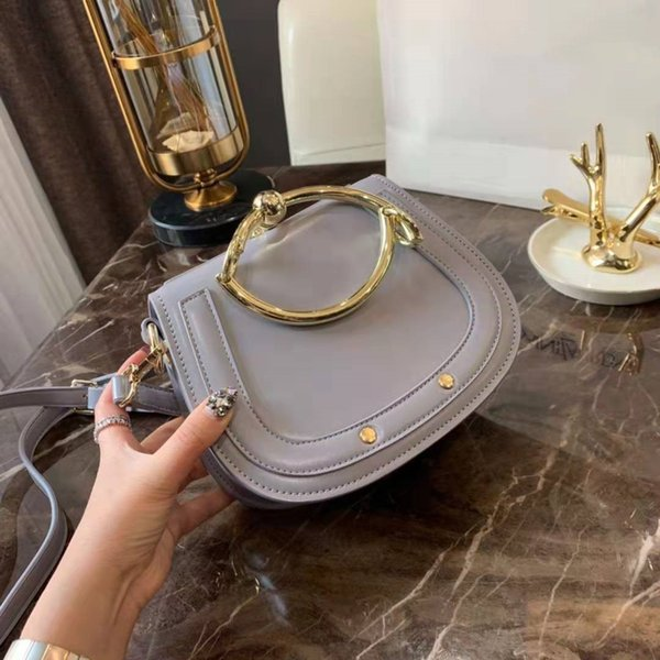 freeship Portable bag ring Circle saddle bags NILE retro small semicircle metal bracelet Leather women Shoulder C Bag women Handbag