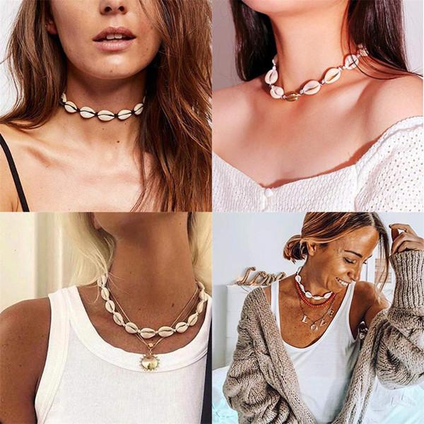 Bohemia Shell Natural Gargantilla Collar Para Las Mujeres Chica Seashell Cuerda Hecha A Mano Collar de Cadena de Verano Joyería de Playa Partido Regalo de Vacaciones