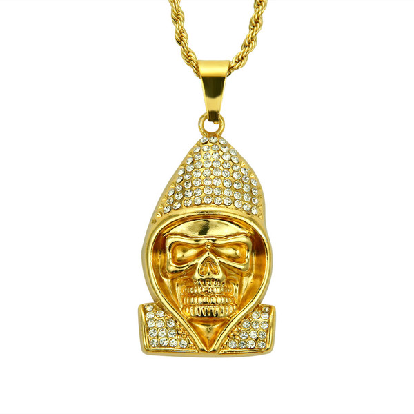 Hip Hop Cool Coat and Skull Crystal Pendant Necklace Fashion Stainless Steel Rock Gold Chain Long Necklaces Men Jewelry kolye