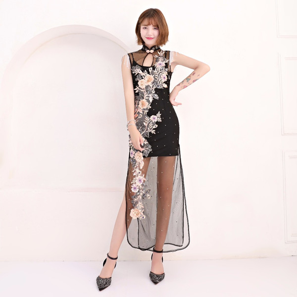 Chinese style Evening dress Star Sexy Classmate Prom 2018 Birthday Party banquet dress Night entertainment venue