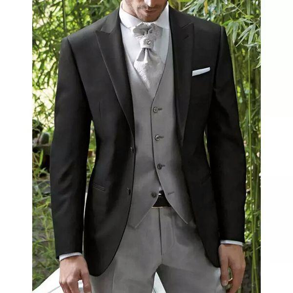 Black Italy Men Suits for Wedding Slim Fit Groom Wedding Tuxedo 3Pieces Coat Pants Grey Vest Handsome Costume Homme Best Men Blazer Jacket