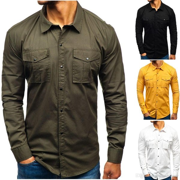 Mens Casual Designer Casual Shirts Long Sleeve Turn Down Collar Regular Homme Clothing Solid Color Casual Apparel