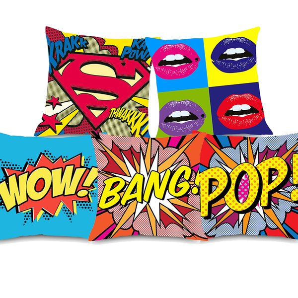7 Styles American POP Style Cushion Covers Graffiti Rock And Roll Letters WOW POW BANG Red Lips Superman Cushion Cover Soft Pillow Case
