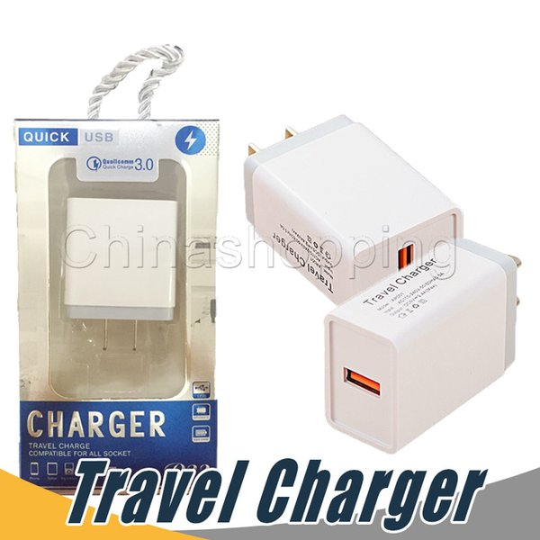 USB Wall Charger Quick Charge Charging Travel Power Adapter US EU Dock For iPhone XS MAX Samsung S10 Huawei