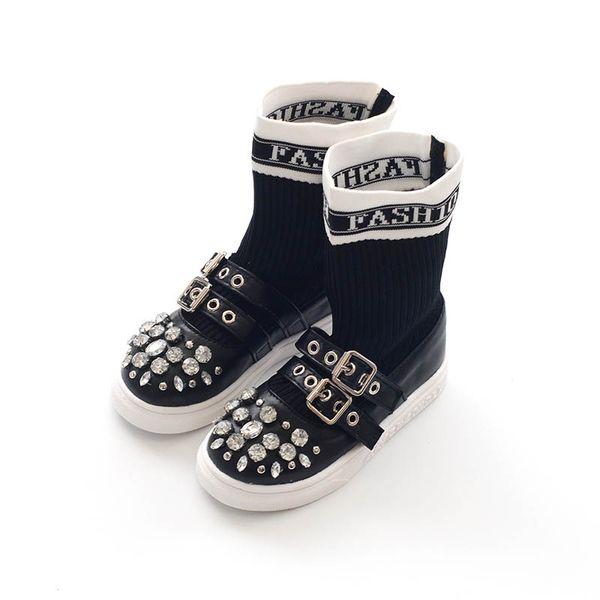New 2019 diamond kids shoes Fashion kids designer shoes Korean casual boys shoes Fashion girls shoe Children Socks kids boots A4235