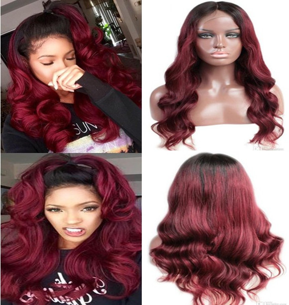 Ombre Lace Front Wigs 100% Brazilian Virgin Human Hair Ombre Dark Root Full Lace Wigs 30 inches Long Hair Loose Wave Free Shipping
