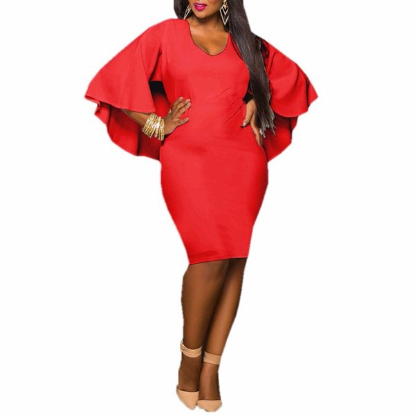 2019 Fashion Women Dress Plus Size L/XL/XXL/XXXL Ladies Batwing Sleeve V Neck Cape Bodycon Bandage Cloak Midi Party Vestidos
