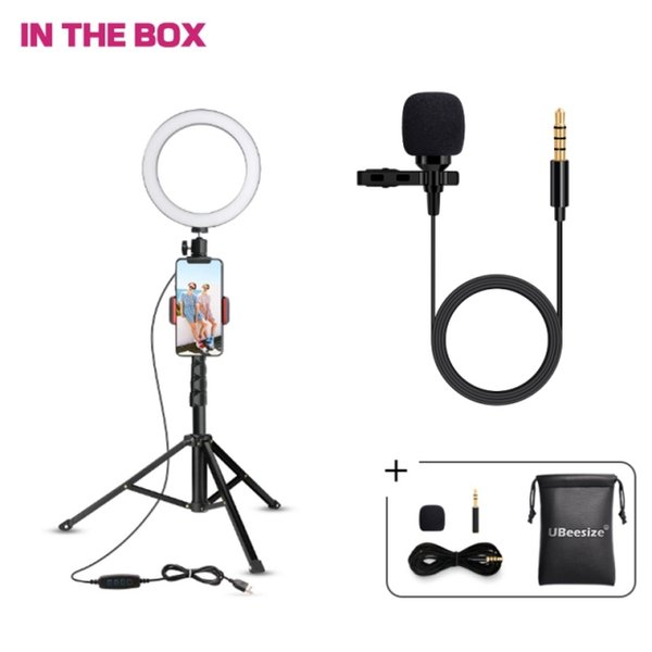 """UBeesize 8"""" Ring Light with stand+ Lavalier Lapel Microphone C, Best Sales Set for Live streaming Youtuber video maker"""