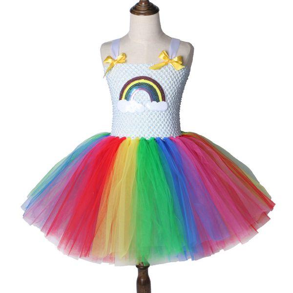 NEW Rainbow Tutu Children's Dresses Girls' Festival Costumes Children's Princess Skirts Netting Fluffy Girls Dresses Free Shipping