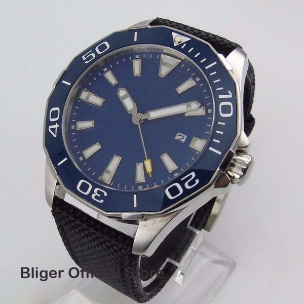 45mm Blue Sterile Dial Men's Watch Big Face Ceramic Rotating Bezel Stainless Steel Case Luminous Miyota Automatic Movement