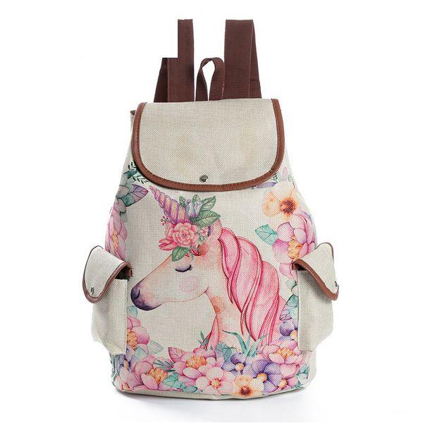 Gute qualität Lässige Floral Cartoon Pferd Gedruckt Rucksack Weibliche Leinen Kordelzug Schultasche Für Teenager Mädchen Reise Rucksack