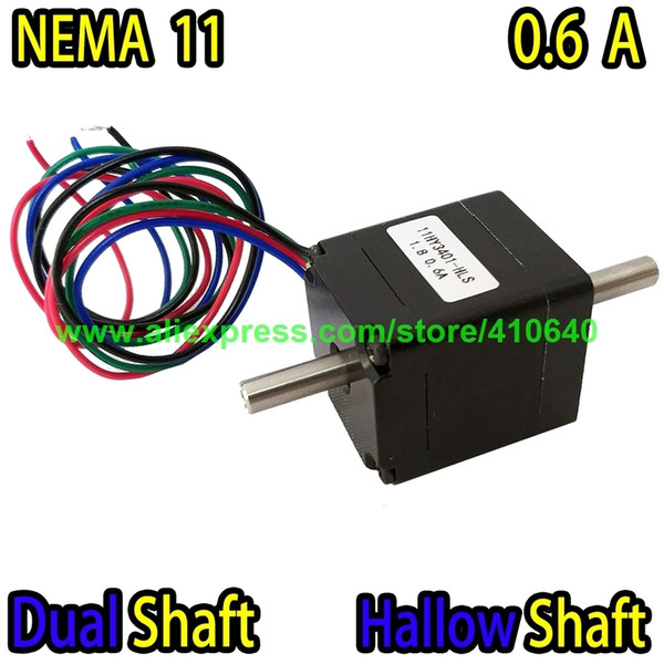 top popular DUAL SHAFT AND HOLLOW SHAFT Nema11 Stepper Motor 11HY3401-HLS 0.6 A 5.5 N.cm Torque Apply for Mounter or Dispenser or Printer 2021
