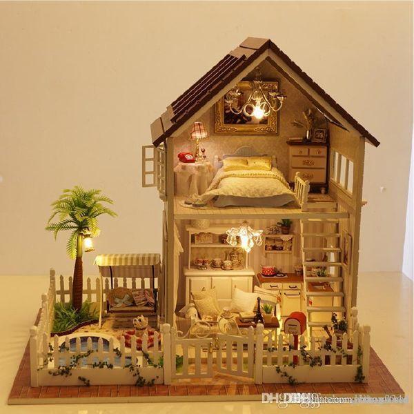 Wholesale-DIY Cottage Paris Apartment Handmade Birthday Gift Assembled Toys Creative House Model Villa DIY Doll House