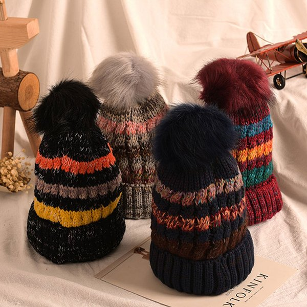 New Women Girl Trendy Hat Winter Knitted Poms Beanie Skull Caps Fashion Accessories Outdoor Ball Hats Free shipping