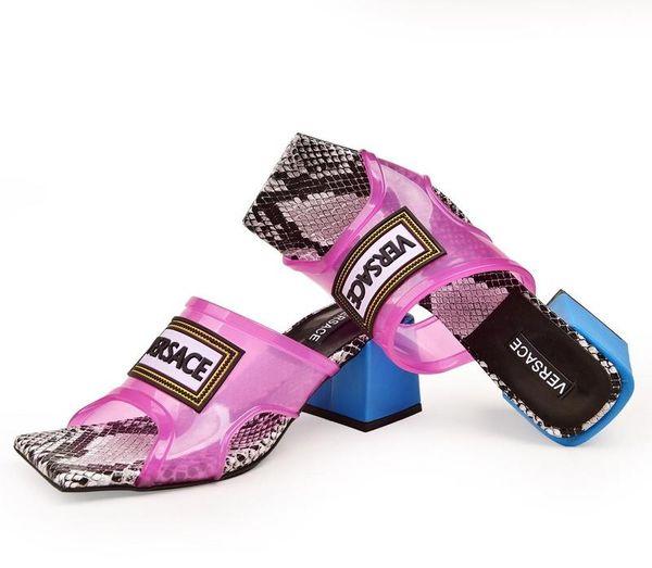 Créateur de luxe femmes sandales à talons hauts 2019 Mode créateurs de luxe femmes chaussures fleur imprimé pantoufles avec des tongs sandales taille 35-42