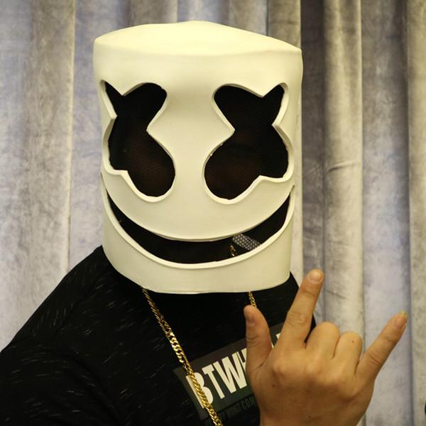 funny dj marshmello cosplay mask soft latex halloween costume props accessory helmet carnaval mask